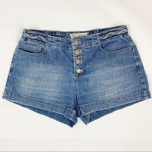 Free People Braided Button Fly Jean Shorts Sz 27